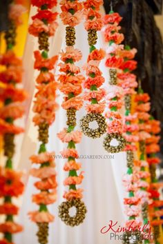 unique and creative Mandap decor, carnations, bells, Indian wedding, Suhaag Garden