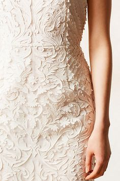 Mademoiselle Vuitton // Cream dress with cut-out textured fabric