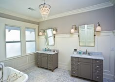 Traditional Master Bathroom with Master bathroom, penny tile floors, Chair rail… Small Bathroom Sinks, Small Bathroom Storage, Bathroom Design Small, Grey Bathrooms, Wall Storage, Master Bathroom, Home Renovation, Home Remodeling, Penny Tile Floors
