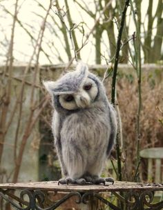 Again... some of the best needle felting ever! Needle felted life size White faced scops owl by pipspatterns, $185.00