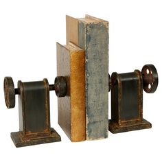 Industrial look c/o bookends!   Wilco Book Press Design Bookend (Set of 2)