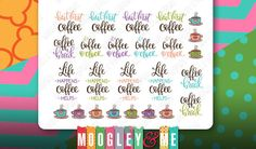 Coffee Planner Stickers for your Horizontal Erin Condren (ECLP), Plum Paper, Kikki K, Happy Planner, Filofax or any planner!! by MoogleyandMe on Etsy