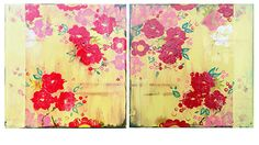 """""""Yellow Silk and Red Roses I and II,"""" diptych, 12 x 12"""" each www.kathefraga.com Kathe Fraga paintings 2014 Inspired by vintage Paris and Chinoiserie ancienne"""