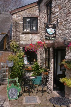"Cosy little teashop in Hay-on-Wye, often described as ""the town of books"", in Powys, Wales (by Canis Major)."