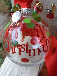 Christmas Ornament  Vinyl Letters Cut With A Cricut Machine by charity