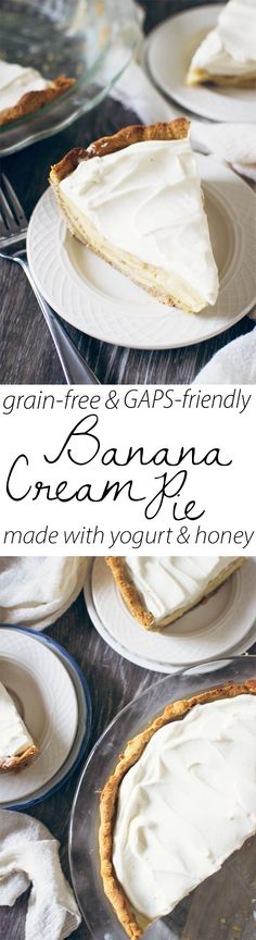 A grain-free pie crust made with pecans, coconut flour, and honey! Filled with a delicious GAPS-friendly, yogurt-based banana cream custard!