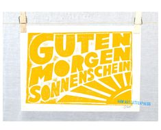 Guten Morgen Sonnenschein German Good Morning by RawArtLetterpress