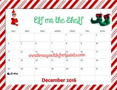 Elf on the Shelf Elf Calendar 2016 Idea Checklist free printable