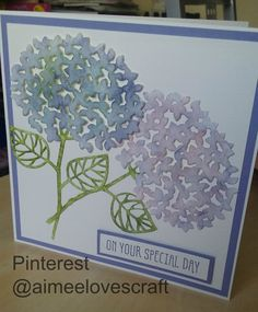 Wedding Card made using Stampin Up! Beautiful Branches Thinlits Dies which are limited to only being available this August. I have coloured the hydrangeas using Wisteria Wonder and Blushing bride and the stems with Old Olive. Card stock is Very Vanilla and Wisteria Wonder @aimeelovescraft