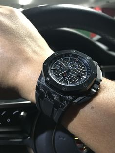 Drenched in all-black Audemars Piguet Royal Oak Offshore Forged Carbon