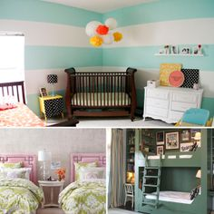 A Room Built For Two: Shared Bedroom Inspiration - www.lilsugar.com. I like the hanging tissue paper balls, easy DIY decor and can be made in any color.