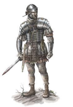 Legionary of the Dacian wars (note his arm covering, designed to protect the limb from the Dacian falx). Artwork by Pablo Outeiral