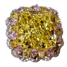 Magnificent 20.70 Ct Fancy Intense Yellow Ring. Photoby GOLDIVA by Golda Co.