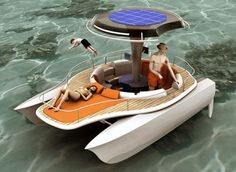 We've seen solar-powered boats, and we've also seen bicycle powered supercomputers, lawnmowers, water purifiers and blenders. So wouldn't it make perfect sense to design a boat that has solar panels and enables passengers to power it by pedaling? Pedal Powered Kayak, Powered Bicycle, Catamaran, Pontoon Boat Furniture, Course Vintage, Build Your Own Boat, Float Your Boat, Yacht Boat, Boat Dock