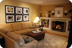 cozy family room - the built-ins with long mantle is so nice and could be done rather easily