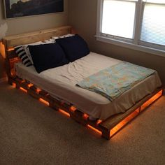 Wooden pallets bed diy pallet bed frame queen view in gallery bed Diy Pallet Bed, Wooden Pallet Furniture, Wooden Pallets, Pallet Ideas, Wooden Diy, Pallet Wood, Pallets Garden, Bed With Pallets, Pallet Projects