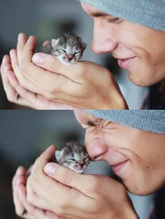 cute guy and cute kitten, makes sense and is a brilliant combination