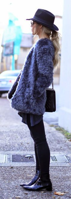 Happily Grey - Faux Fur Open Front Jacket Alina Colored Stretch Skinny Jeans.