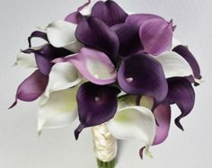 Wedding Bouquet Plum Calla Lilly Bouquet Bridal by MGFloralDesign