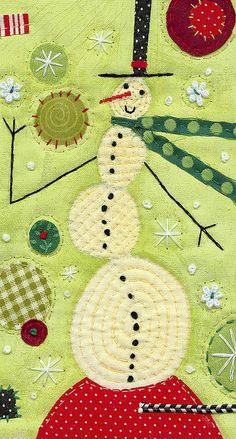Snowman stitched quilt @Carolyn Rafaelian Rafaelian Phillips Schade
