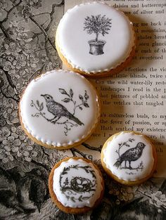 cute! put food coloring on rubber stamps, and stamp frosted cookies for a cute design :)