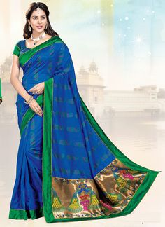 Overnice Blue Cotton Silk Sarees