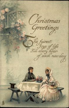 Tuck Christmas Fancy Couple Picnic Table Gilt Embossed c1910 Old Postcard | eBay