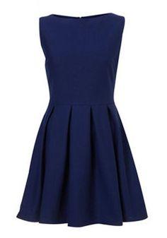 Royal Blue Ruffle Above Knee Wool Dress