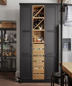IKEA Kitchen Inspiration: How to Build the Perfect Kitchen Pantry Black Ikea Kitchen, Ikea Kitchen Design, Black Kitchens, New Kitchen, Home Kitchens, Kitchen Dining, Kitchen Decor, Ikea Kitchens, Kitchen Ideas