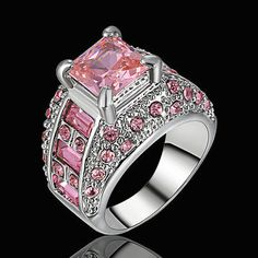 Size 7 Women's Pink Sapphire Big Stone Sunflower Ring white Platinum Plated | Jewelry & Watches, Fashion Jewelry, Rings | eBay!
