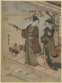 Print shows a young man and a young woman standing on a veranda, with a rooster and a hen standing nearby.