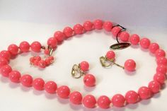 Vintage Retro Hot Pink Necklace and Clip on earring set Japan. $12.00, via Etsy.
