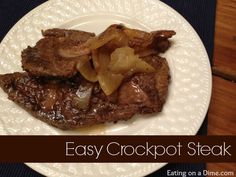 This tangy crockpot steak recipe is so easy to make. It makes any inexpensive cut of meat tastes tender and delicious just by using your crockpot. Crockpot Steak Recipes, Slow Cooker Recipes, Crockpot Recipes, Cooking Recipes, Budget Recipes, Smothered Steak, Crock Pot Slow Cooker, Oven Cooking, Favorite Recipes