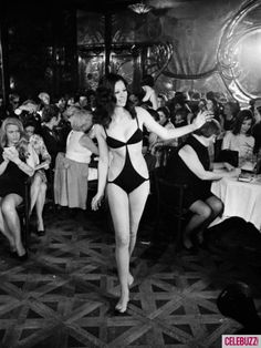 22nd January 1968: A designer swimsuit designed by British-born American actress Elizabeth Taylor and her American partners Mia Fonssagrieves and Vicki Tiel on show at Maxim's in Paris. (Photo by Keystone/Getty Images)