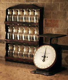 Spice rack & scale - I Heart Houses - Victorian Kitchen Before & Afters Steampunk Kitchen, Victorian Kitchen, Steampunk House, Apothecary Decor, Apothecary Bottles, Antique Bottles, Old Kitchen, Kitchen Items, Vintage Kitchen