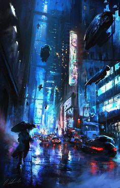 Walking on the street by daRoz Blade Runner cyberpunk landscape location environment architecture I don't know where to put this, but this looks amazing! Maybe a scene on earth? Arte Cyberpunk, Ville Cyberpunk, Cyberpunk City, Futuristic City, Cyberpunk Anime, Futuristic Architecture, Syd Mead, Sci Fi City, New Retro Wave
