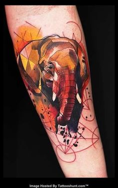 Elephant Head Abstract Tattoo On Arm                                                                                                                                                                                 More