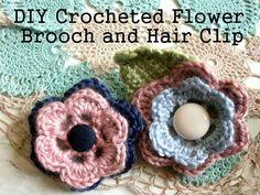DIY Crochet Flowers: DIY crocheted flower brooch and hair clip