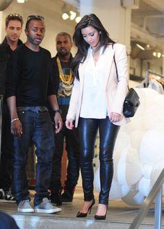 Kim Kardashian- blush blazer, white blouse, leather leggings, Chanel flap bag. simply chic.