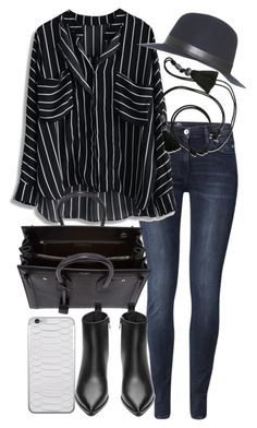 """""""Untitled #18817"""" by florencia95 ❤ liked on Polyvore featuring H&M, Lanvin, Yves Saint Laurent, Acne Studios and Hat Attack"""