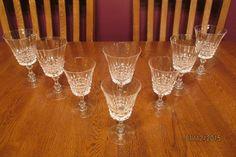 """Vintage Set Of 8 Cristal D'Arques Durand Pompadour Glasses ~ (5) 6"""" ~ (3) 5 1/4"""""""