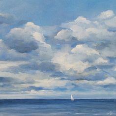 wendydoakart  - Blue Skies Sailing Original 12x12 inch Oil Painting