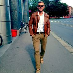 Looking good Espen!! Wearing our Quilted Biker (Creased Antique Biker) #luxury #leather #bodaskins