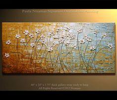 "48"" x 24"" Original  Modern Palette Knife Textured Oil Painting Heavy Palette Knife Wild  Daisies floral fine art by P. Nizamas"