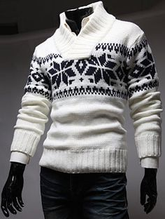 f615519604f24 Slimming Trendy Stand Collar Christmas Snowflake Jacquard Long Sleeve  Polyester Sweater For Men