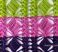 Lovely and lacy crochet stitch pattern and tutorial from My Picot Crochet Motifs, Crochet Stitches Patterns, Crochet Chart, Love Crochet, Knitting Stitches, Crochet Flowers, Crochet Lace, Stitch Patterns, Knitting Patterns
