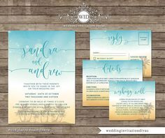 Beach Theme Printable Wedding Invitation set PERSONALIZED PRINTABLE WEDDING STATIONERY TEMPLATES WITH FREE EDITING Please note: WE EDIT THE