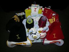 A view from the top, the Iowa/ISU diaper cake, a basket divided!