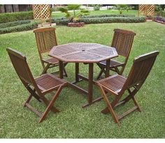 International Caravan Highland 5-Piece Wood Patio Dining Furniture Set