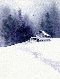 Barn in Snow, watercolor by Kim Attwooll Landscape Winter G .- Barn in Snow, watercolor by Kim Attwooll Landschaft Winter Gebäude kleine Aquar… Barn in snow, watercolor by Kim Attwooll Landscape Winter building small watercolor - Winter Landscape, Landscape Art, Landscape Paintings, Barn Paintings, Christmas Landscape, Forest Landscape, Indian Paintings, Watercolor Techniques, Painting Techniques